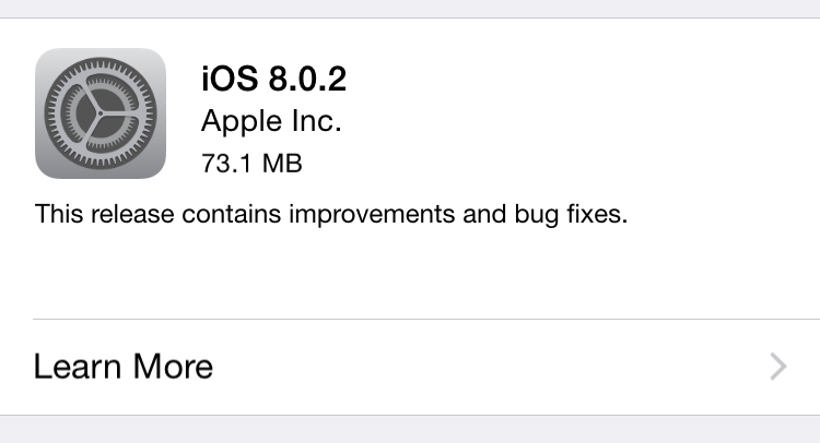 Apple corrige y lanza iOS8.0.2
