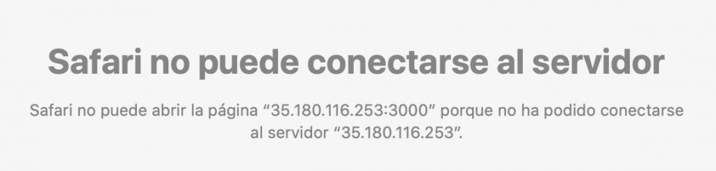 error de conexión con el servidor